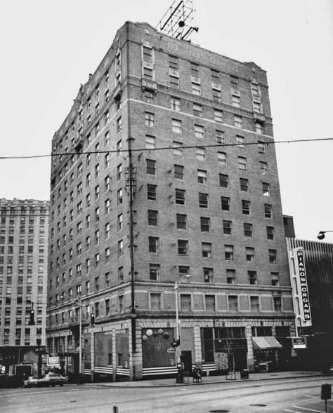 The Mayflower Hotel at the southeast corner of Olive Way and Fourth Avenue.