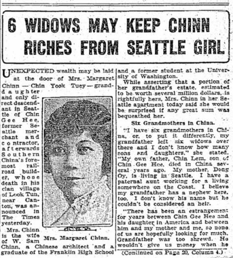 Above, and continued below, a July 2, 1929 clip from The Seattle Times.