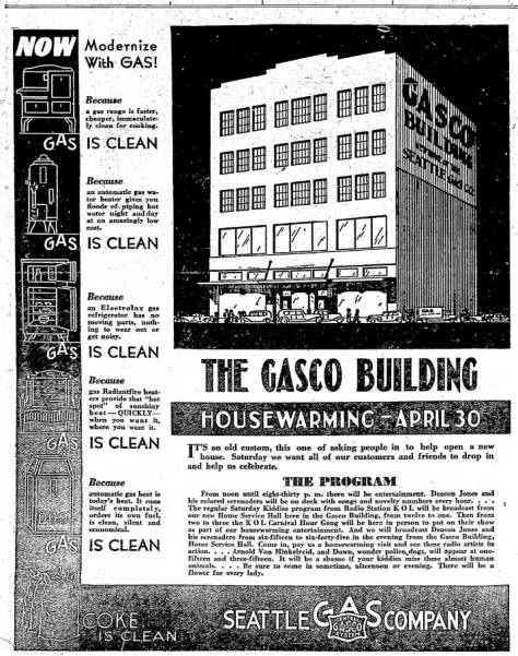 The Gasco Building's invitation to a housewarming for April 29, 1932.
