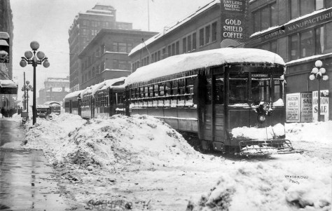 Feb. 2, 1916, looking south on Fourth Avenue from near Pike Street.