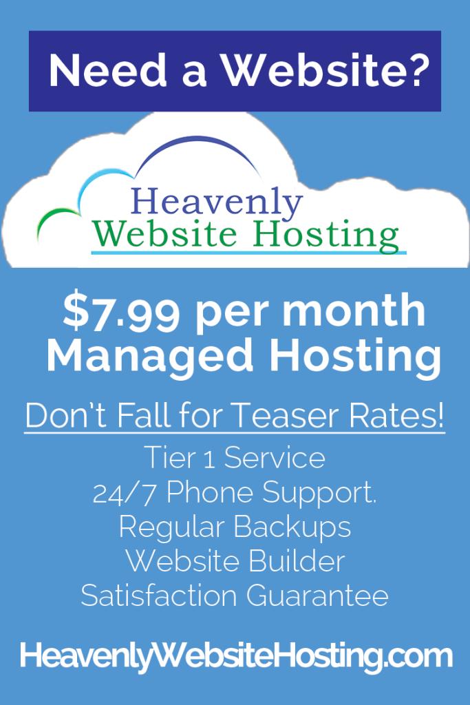 Heavenly Website Hosting Ad