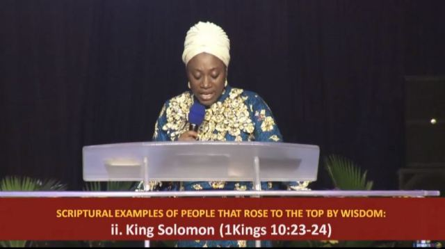Dr Becky Enenche teaching on Keys to rising to the top