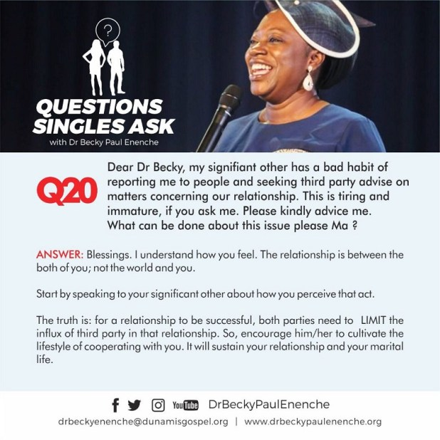 Singles ask Dr Becky Enenche