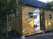 Tiny Cabin Front Wall with foam board