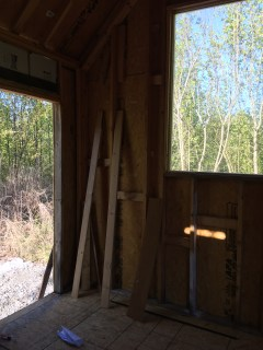 Inside the tiny cabin back door