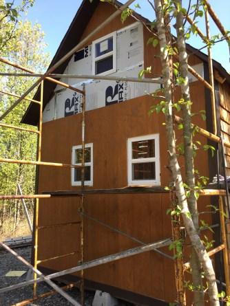 Tiny cabin siding before