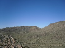 View from the helipad. The notch in the mountains is Telegraph Pass as viewed from the southeast.
