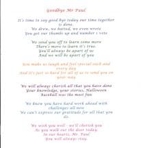 A poem written by the children