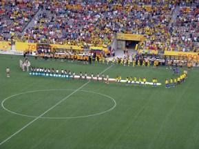Teams lining up.
