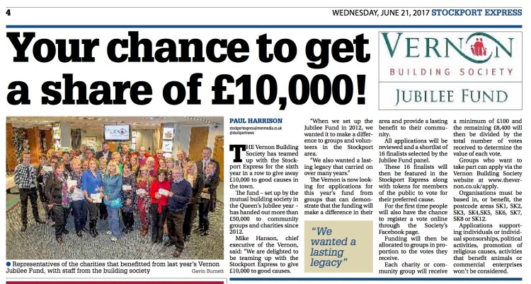 Vernon Jubilee Fund, Stockport Express (June 17, 2017)