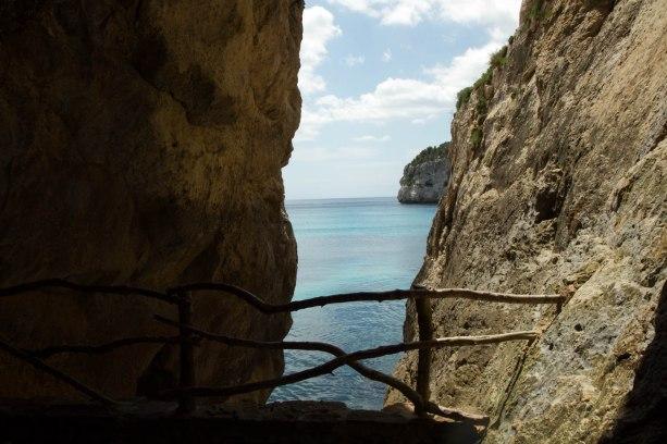 seascape with rocks and bridge
