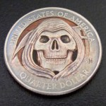 'Grim Reaper' clad coin carving USA quarter $ 2000 1