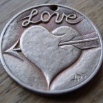 'Heart & Arrow' Love token-coin carving (1978 French 10 Francs coin) 1a