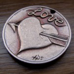 'Heart & Arrow' Love token-coin carving (1978 French 10 Francs coin) 3