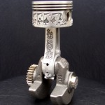 'Lucky 13' relief engraved piston & connecting rod (final assembly) 1