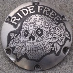 'Ride Free' hand engraved H-D Sportster derby cover 1c