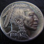 'The Warrior' Hobo nickel-coin carving 1936 USA Buffalo 5 cents 1aa