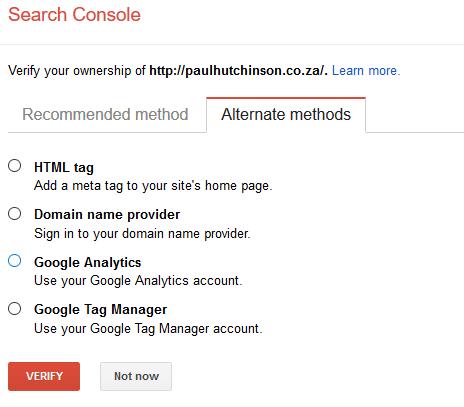 Google Webmaster Alternate methods