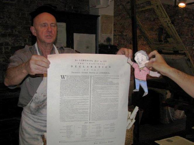 Flat Stanely at Ben Franklin s printing press The