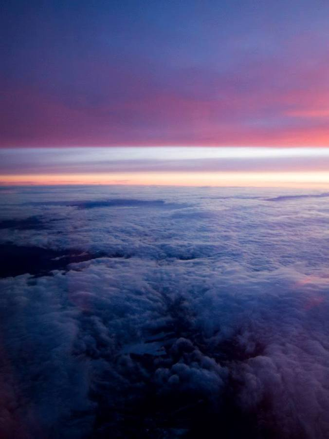 Amanecer desde el avión a Amsterdam