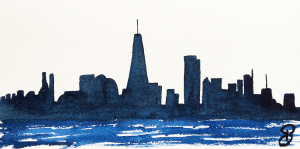 Aquarelles NYC - Downtown skyline