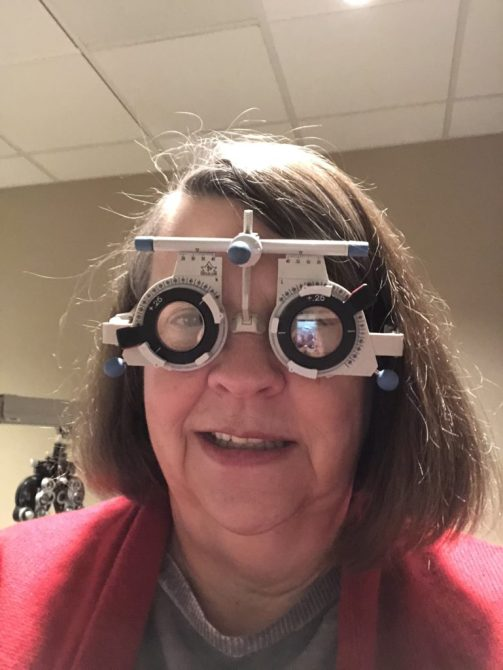 Pauline in opthamalogist glasses