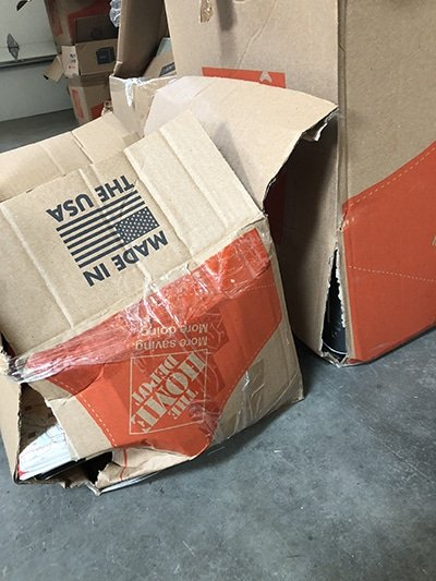 busted up boxes