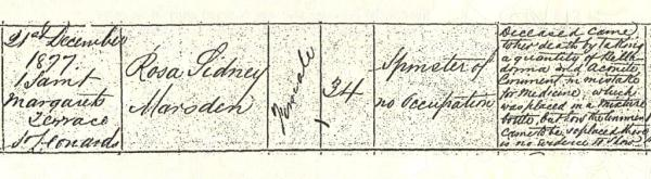(33) Rosa Marsden - extract from Death Certficate 1877