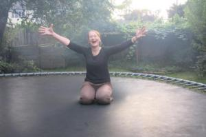 On the trampoline..viewed through a flattering veil of bar-b-que smoke!