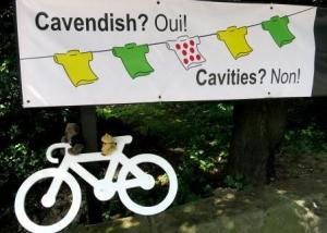 Local dental surgery's banner - before British hope Mark Cavendish crashed out of the race.