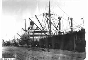 The Waratah being loaded at the port of Adelaide.