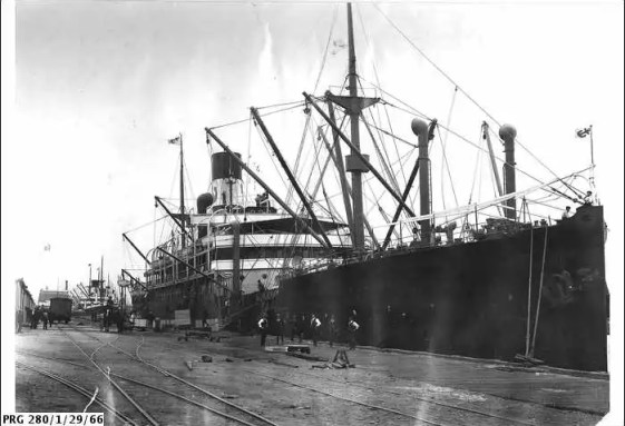 The S.S. Waratah being loaded at the port of Adelaide.