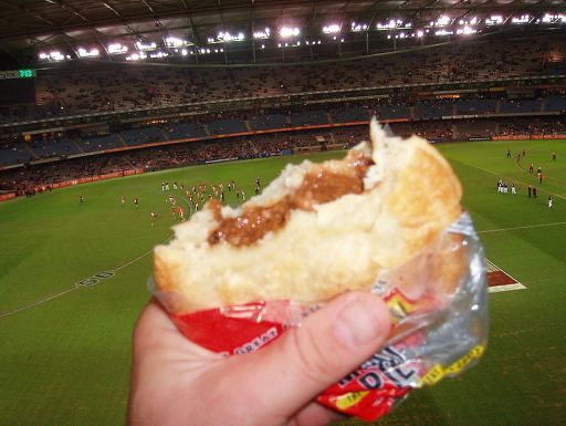 An Aussie Tradition; football and pies! A fitting tribute to the Pieman.