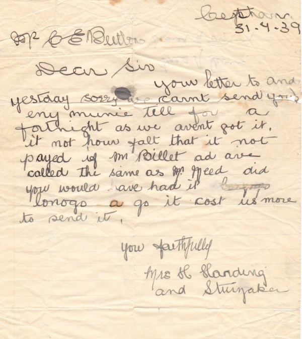 Depression era letter from Cethana, part of  Tasmanian social history..