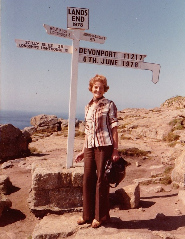 MY MOTHER MYRA AT LAND'S END. SHE KNEW EXACTLY WHERE SHE WAS!!