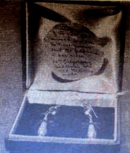The historic earrings, and the accompanying note.