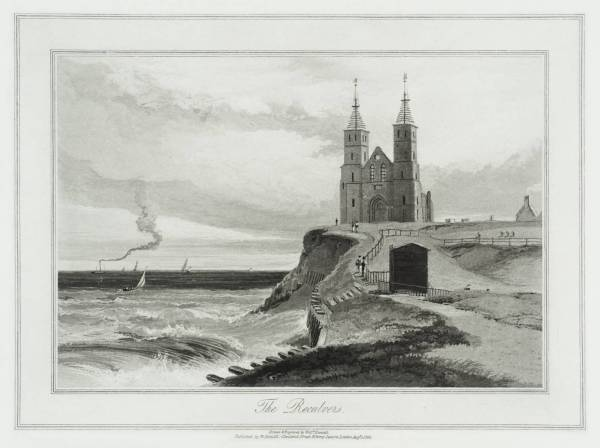 The Reculvers and it's skeletal twin spires, by William Daniell