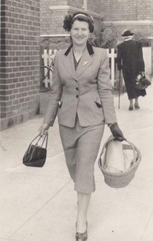 My mother Myra in Reiby Street Ulverstone, The wicker basket was later relegated to paddock duty,