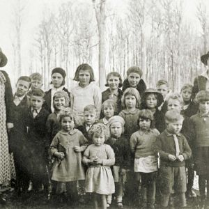 Some of the children at Tarraleah's first school.