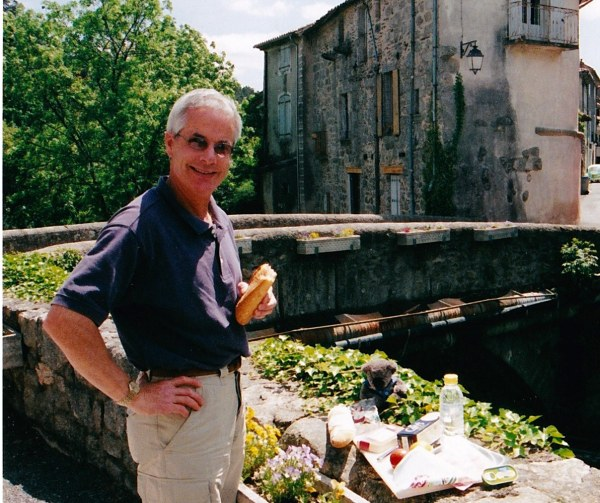 Baguettes are a bit boring I reckon. Here i am with Dr Bob, en France.