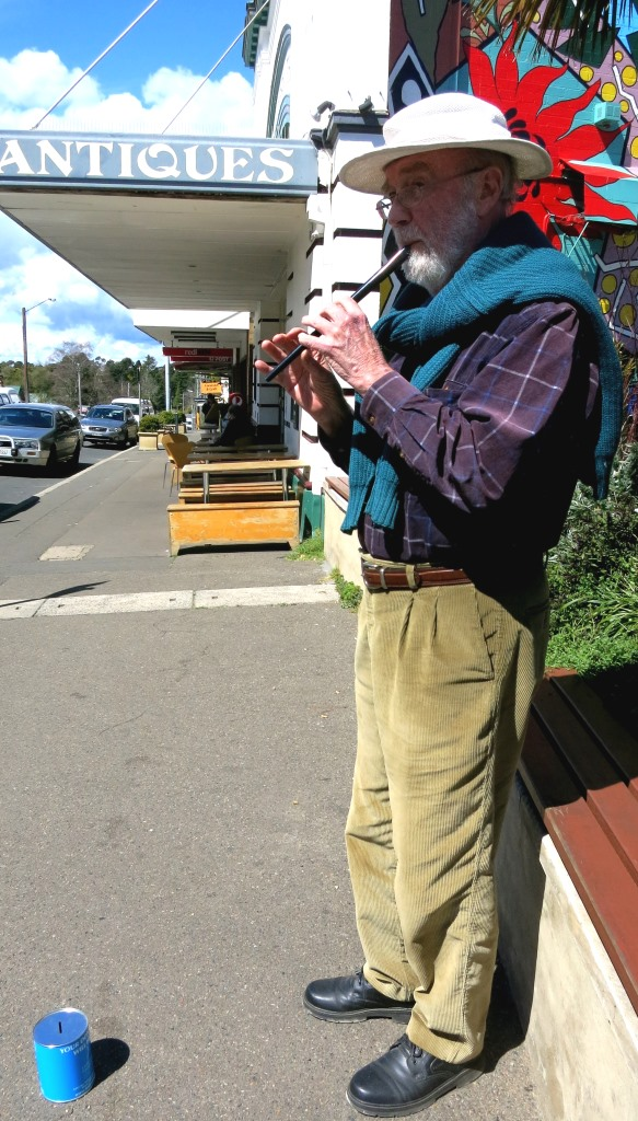 Busking at Blackheath, in the Blue Mountains