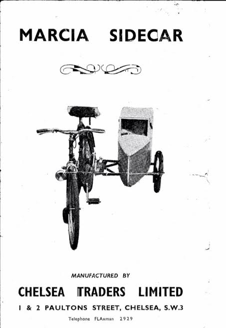 Front page of the Marcia Sidecar leaflet.