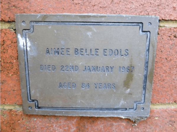 Memorial plaque for Aimee Edols