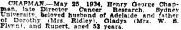 Henry Chapman death notice