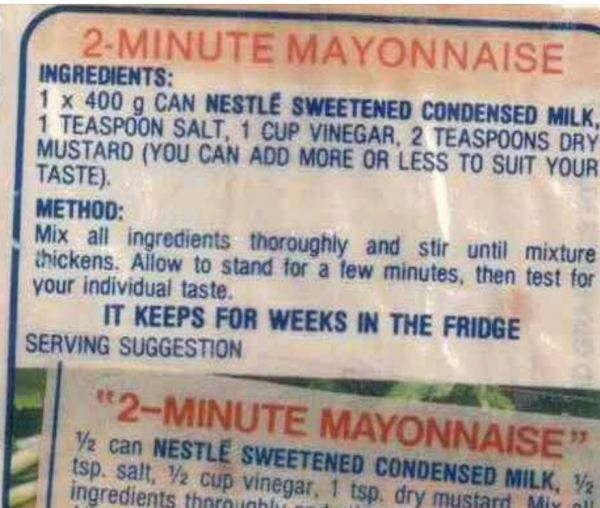 Condensed milk mayonnaise