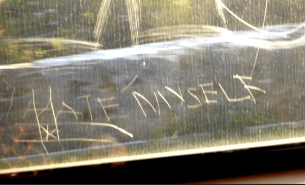 Train window graffiti