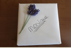 Lavender gift tag.