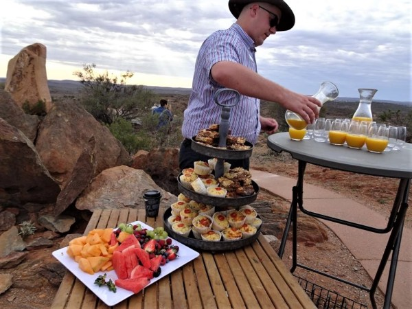 Pre-breakfast snack for passengers from the Indian Pacific at Broken Hill