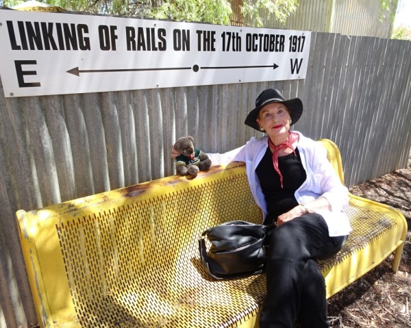 Editor Des and Pauline Conolly at Cook during a trip in the Indian Pacific