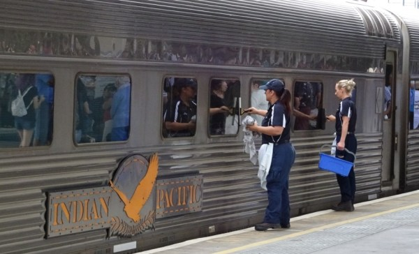 The Indian Pacific is given a clean and polish ready for a return journey to Sydney.